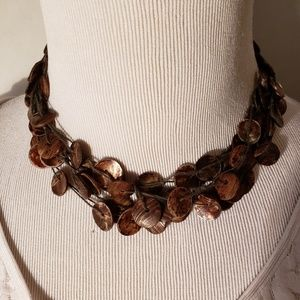 Jewelry - Vintage Brown Shell Corded Necklace